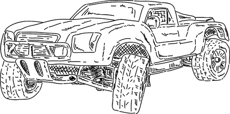 offroad: vector - off-road race short truck isolated on background