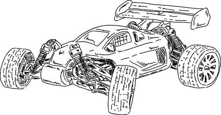 vector - De hand trekt RC buggy auto die op achtergrond