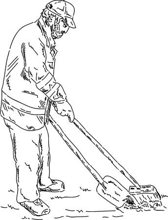 clean street: vector - hand draw road sweeper - working outdoor