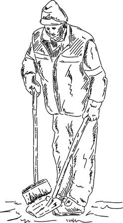 spazzatrice: vettoriale - disegnare a mano Spazzatrici - lavoro all'aperto Vettoriali