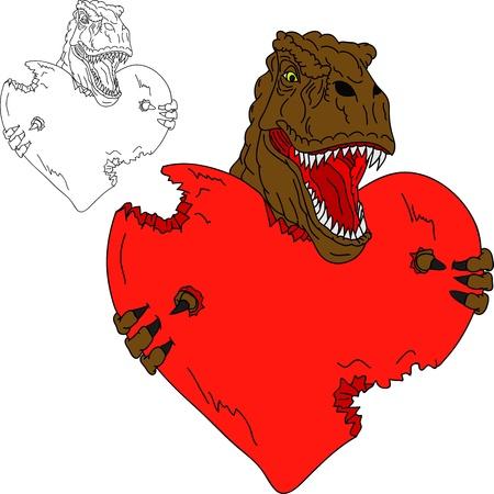tiranosaurio rex: dinosaurio T-Rex como el d�a de San Valent�n aislado en el fondo