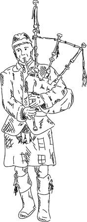gaita: vector - el hombre llevaba kilt escocés y tocando la gaita, aislado en el fondo