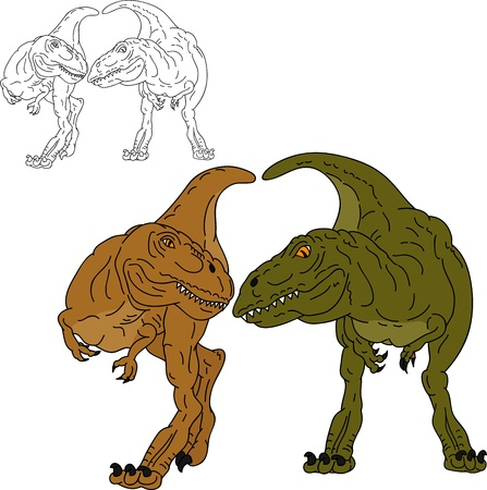 paleontology: vector - two dinosaurs together  , isolated on background Illustration
