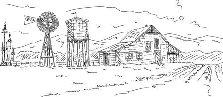 moinhos de vento: vector - Old farm under mountains hand draw Ilustração