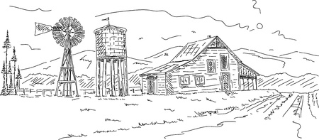 windmills: vector - Old farm under mountains hand draw Illustration