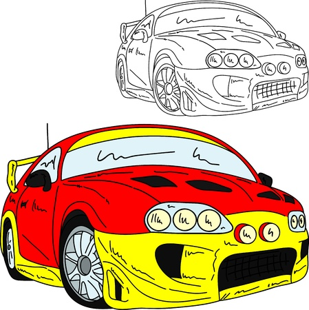 car tuning: vector  - rally car tuning isolated on background