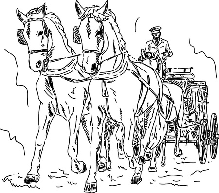 vector - Paard en wagen, met de hand te tekenen die op achtergrond