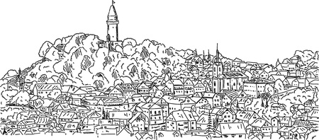 hill top: vector - Stramberk, historic town with a castle on a hill top ,Czech republic, Europe  Illustration