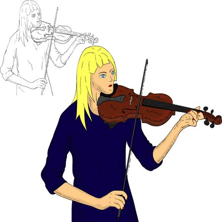 fiddle: vector - woman playing violin, isolated on background