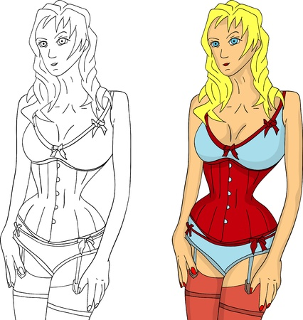 vector - young beautiful woman wearing corset ,isolated on background Vector