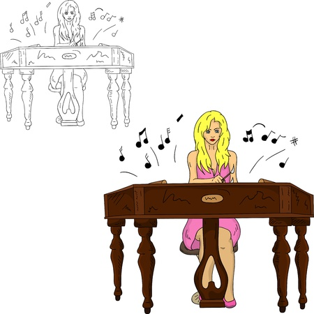 czech women: vector - young grirl playing the dulcimer, isolated on background Illustration
