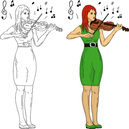 vector - woman playing violin, isolated on background Stock Vector - 12423141