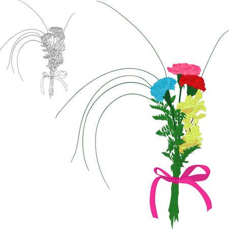 claveles: vector - Tres claveles de colores aislados en blanco