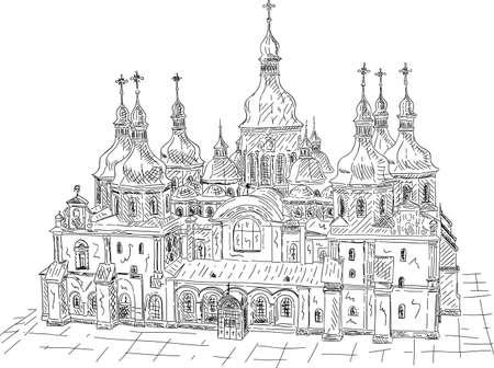 vector - Saint Sophia Cathedral in Kiev, Ukraine isolated on background Illustration