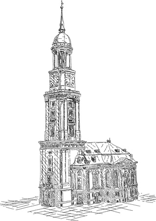 vector - St. Michael church in the city of Hamburg , isolated on background 矢量图像