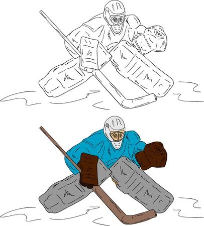 hockey goal: ice hockey goalie isolated on background