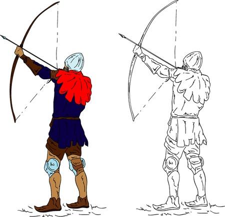 bowman: storico arciere, isolato su sfondo Vettoriali