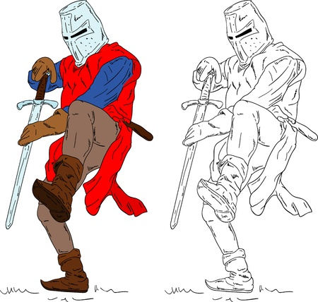 cartoon knight:  historic soldier, isolated on background