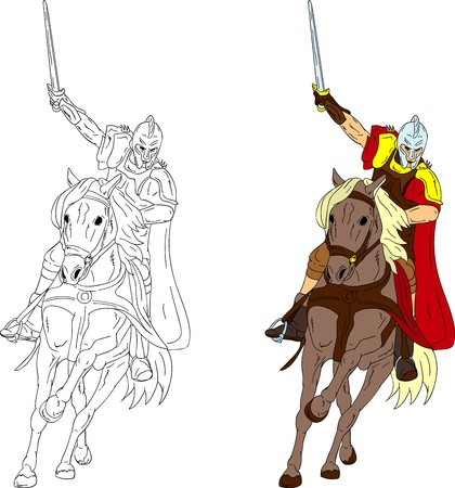 the middle ages: knight on horse isolated on background
