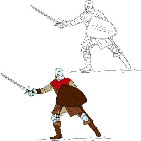 Caballero con espada sobre fondo