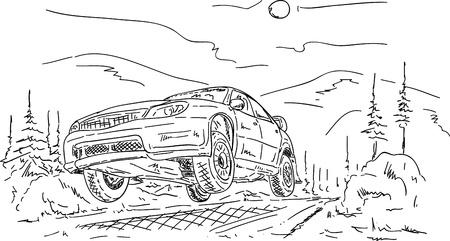 vettoriale - car salto rally, isolato su sfondo