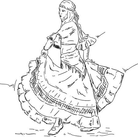 bailarina de flamenco: vector - Mujer bailarina de flamenco con un vestido antiguo, aislado en el fondo de color Vectores
