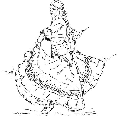 flamenco: vector - Woman  Flamenco dancer in a historic dress , isolated on backgroud Illustration