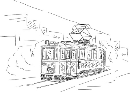 electric tram: vector - Historic tram on a street, isolated on background Illustration