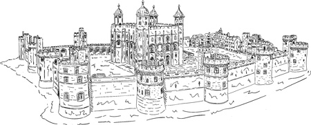 historic building: vector - The Tower of London, isolated on background Illustration