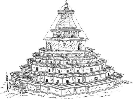 tibet: vector - The Kumbum, Gyantse Monastery, isolated on background