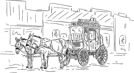western town: Horse western carriage, hand draw isolated on background