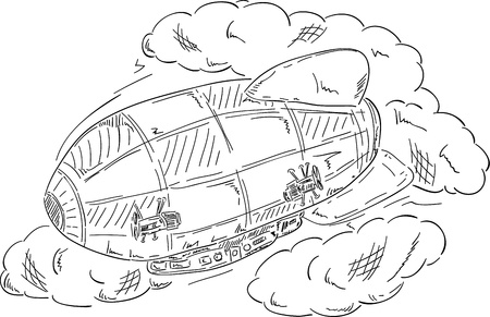 vector - airship , hand draw, isolated on background Vector