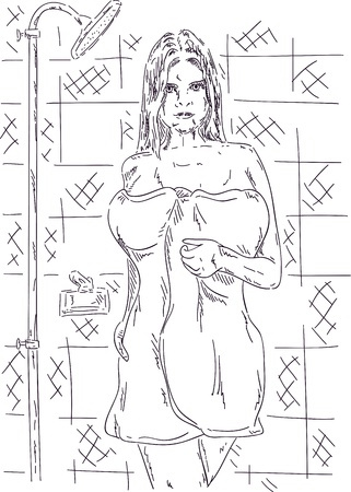 cartoon bathing: vector - woman with towel go out from bathroom