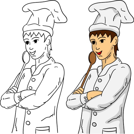 wooden hat: cook with a wooden spoon, isolated on background