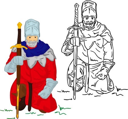 human age: Knight with scimitar isolated on background