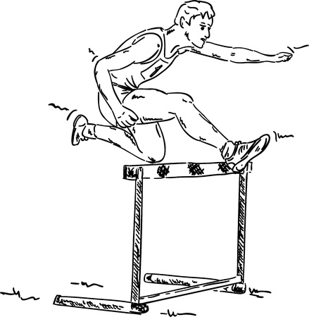 hurdle: vector - male in a hurdle race , isolated on background