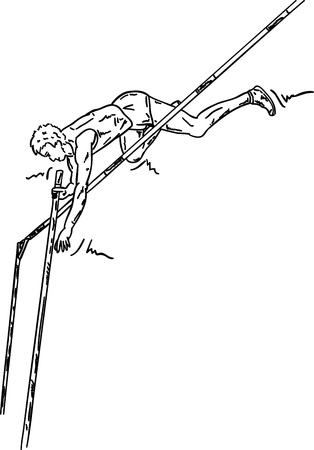 game over: vector - male high jumper in action , isolated on background Illustration