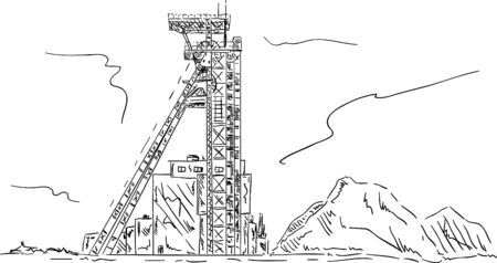mine: vector - Coal mine headgear tower, hand draw