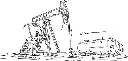 неочищенный: вектор - Добыча нефти, рука ничья