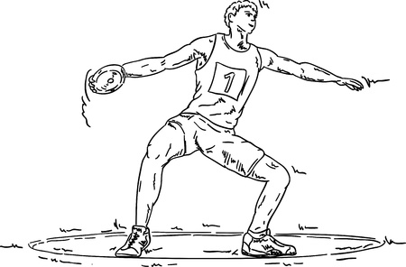 vector - men throwing the discus, isolated on background Vector