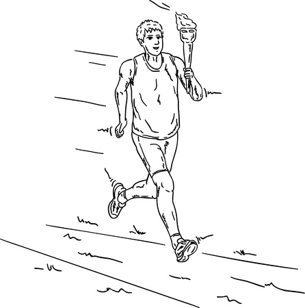 vector - runner with  Olympic torch, isolated on background Vector