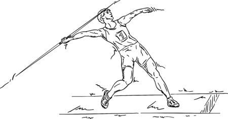 lanzamiento de jabalina: Jabalina masculino, aislado en el fondo Vectores