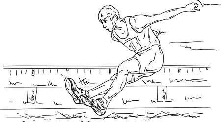 salto largo: vector - el hombre en acción - Salto de longitud