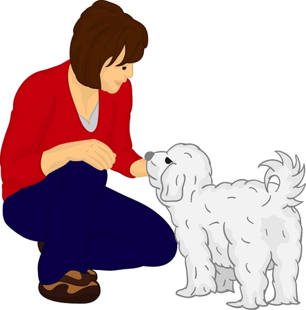 pet care: girl with dog isolated on background color