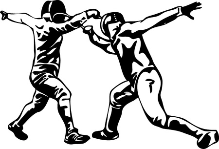 fencing:  Fencing - a touch , isolated on background