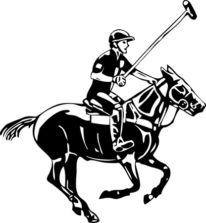 horse riding: vector - Polo horse and player, isolated on background Illustration