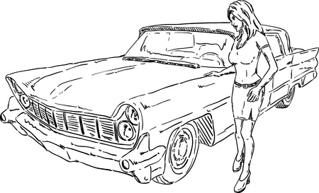 american old car with girl Vector