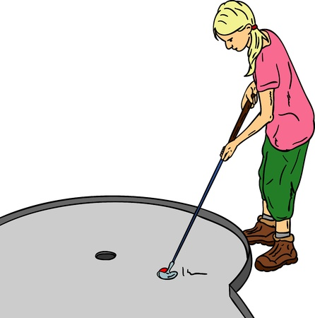 minigolf:  Young girl played mini golf, isolated on background