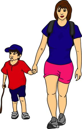 family hiking: vector - mother with her son isolated on background