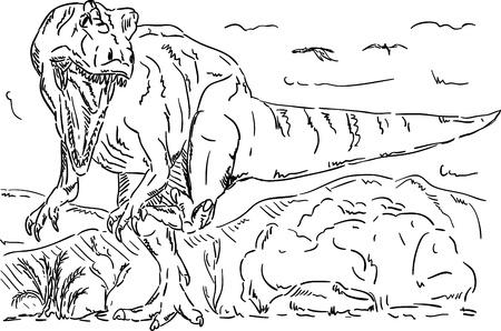 tiranosaurio rex: Vector - dinosaurio que ataca, naturaleza prehistórico, aislado en el fondo Vectores